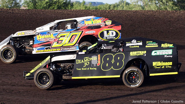 Nate Chodur (88) competes in a USRA B-Mod heat race Sunday night at the Mason City Motor Speedway.