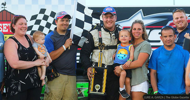 Derek Green won the Holley USRA Stock Car feature on Sunday, July 8, 2018, at the Mason City Motor Speedway in Mason City, Iowa.